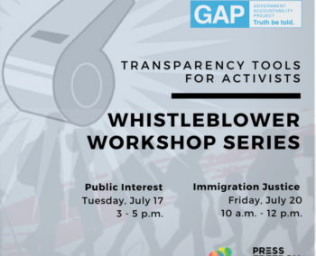 Event flyer for 2018 whistleblowers workshop
