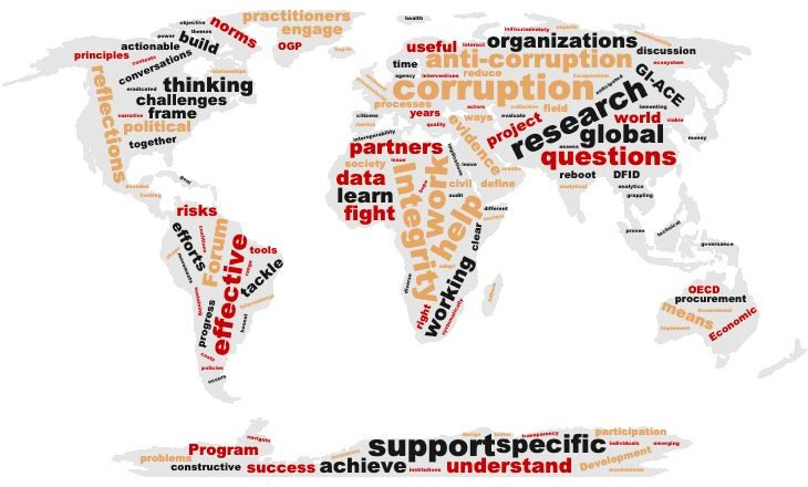 Anti-corruption word cloud on global map overlay