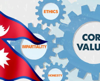 Nepal flag overlaid on interlocking cogs representing core values ethics honesty impartiality