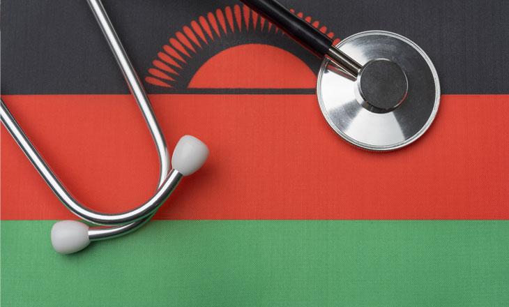 stethoscope with flag of Malawi background