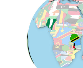map of Africa on globe with Nigeria Tanzania and Malawi highlighted