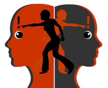 red and black heads in opposite directions with persons in contrasting colors inside pointing in opposite directions