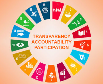 sustainable development goal icons in circle around transparency accountability participation